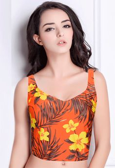 0cade9e57929 This beautiful Orange Floral Printed Wide Straps Crop Top is a great option  for your wardrobe and enhances your style. The crop top bra helps you to  enjoy