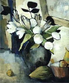 """""""Bouquet blanc au miroir""""-  Bénédicte Garnier-Fihey-  Oil on canvas"""