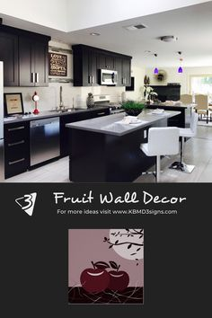 #red #appleprint in a #modern #black #kitchen . If the color of the #appleposter print needs adjustment then #colorityourway by changing the fill color. Click through to learn how to #personalize the background color.