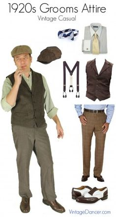 groom attire for a Great Gatsby, Art Deco, Gangster or Prohibition themed wedding. Groomsmen ideas from casual to formal tuxedos Vintage Groom, Vintage Men, Wedding Vintage, 1920s Wedding, 20s Fashion, Retro Fashion, Fashion History, Vintage Outfits, Vintage Clothing