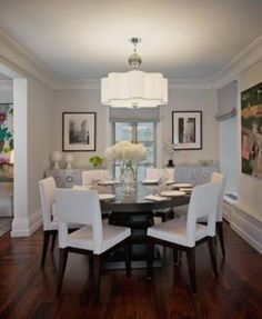 Love The Simplicity Of Hydrangea Centerpiece Also Simple Impact All White Round Dining Room