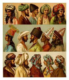Turbantes y tocados-Persas-Afganos-Turcomanos-Indios –Kurdos y arabes-A. Racinet 1888
