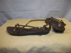 Crocs Women's Sandals Strappy Ankle Strap Flats Brown Size 7 #Crocs #FlatSandals