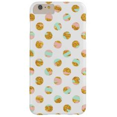 Modern Girly Pink Teal Gold Glitter Polka Dots Barely There iPhone 6 Plus Case