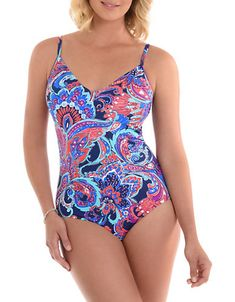 ee345e5052 PENBROOKE No Wall Flower One-Piece V-Neck Swimsuit Flower Wall