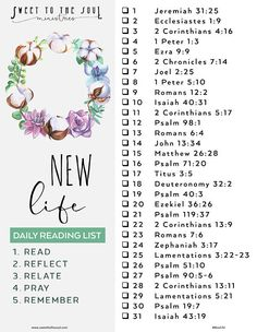 Sweet To The Soul Ministries - New Life - FREE scripture reading list Bible Study Plans, Bible Study Notebook, Bible Plan, Bible Study Tips, Bible Study Journal, Bible Lessons, Scripture Journal, Faith Scripture, Scripture Reading