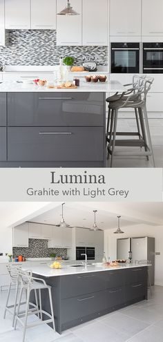 Mix and match grey gloss tones to create a modern kitchen – opt for a large kitchen island and use a dark kitchen colour to add the wow factor. Dark Grey Kitchen Cabinets, Modern Grey Kitchen, Light Grey Kitchens, White Gloss Kitchen, Modern Kitchen Lighting, Grey Kitchen Island, Grey Kitchen Designs, Modern Kitchen Design, Open Plan Kitchen Living Room
