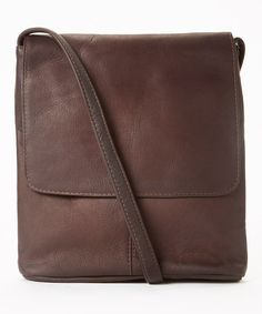Look at this #zulilyfind! Brown Simple Flap-Over Leather Crossbody Bag #zulilyfinds