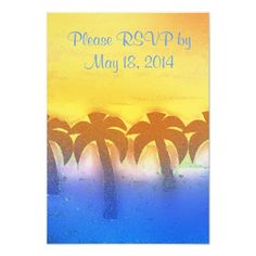 tropical  morning wedding personalized announcements
