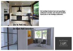 Digitale verkoopstyling   Huis & Interieur. De huidige (naar verhouding kleine) keuken wordt ontbijtkamer of kleine eetkamer.