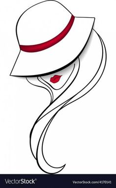 Women in a vintage hat vector image on - Drawings ✏️ Cool Art Drawings, Pencil Art Drawings, Art Drawings Sketches, Easy Drawings, Design Art Drawing, Disney Drawings, Girls With Red Hair, Girl With Hat, Fur Vintage