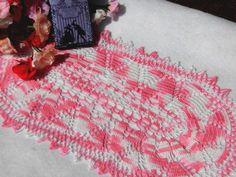 "Doily,Doilies,Crochet doily,Kawaii table center,Weddings table decor,made in Japan,Dollhouse Rug,Dresser mat,Oval,Pink / 7.5""x13.8""(19x35cm) by YuminaCafe on Etsy"