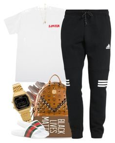 """""""Untitled #810"""" by cjasmyne ❤ liked on Polyvore featuring MCM, Casio, adidas, Gucci and Sarah Chloe"""