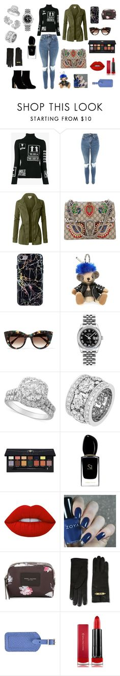 """""""Sans titre #54"""" by sheimabidi on Polyvore featuring mode, Moschino, Topshop, LE3NO, Gucci, Burberry, Thierry Lasry, Rolex, Chanel et Van Cleef & Arpels"""