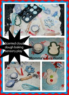Holiday scented sensory cloud dough....great way to bring holiday baking to play.