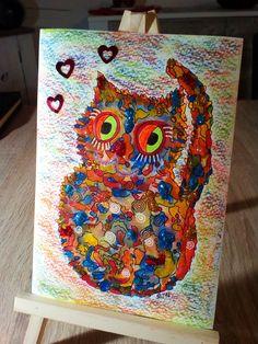 Meine erste Happy Cat! Aquarell Farben, Fineliner, Glitter und Herzen, Hintergrund Ölmalkreiden. 😘