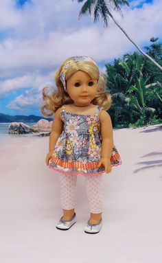 """""""Miranda's Garden,"""" Babydoll Camisole and Leggings for AG dolls by cupcakecutiepie on Etsy  $33.00"""