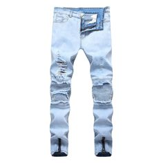 b5b66ef5691a3 High quality summer new arrival men ripped jeans skinny pencil pans designer  joggers male denim trousers plus size fake zippers.