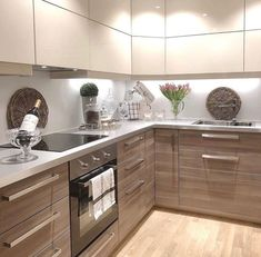 Modular Kitchen area' a term used for the contemporary kitchen design, which consists of variety of closets to hold different points in different areas. Kitchen Room Design, Kitchen Cabinet Design, Modern Kitchen Design, Home Decor Kitchen, Interior Design Kitchen, Kitchen Furniture, New Kitchen, Home Kitchens, Kitchen Dining