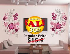 Sale 30% OFF Happiness blossom TV background wall by HomeFreeStyle