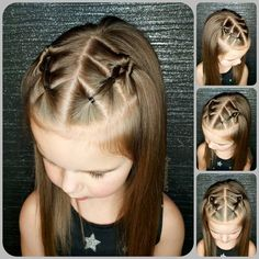 Easy Toddler Hairstyles, Easy Little Girl Hairstyles, Lil Girl Hairstyles, Braided Hairstyles, Toddler Hair Dos, Girl Hair Dos, Front Hair Styles, Hair Beauty, Hair Ideas