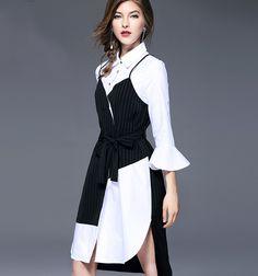 b8534a15a Fashion Women New Striped Spliced Dress Elegant Turn-down Collar Fake Two Pieces  Dress Vintage Retro Spring Autumn Winter Dress