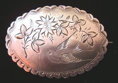 Antique Victorian Sterling Silver Brooch Pin 1892
