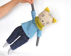 Cat boy, Cat doll boy, stuffed cat toy, linen cat boy, toys for boys, heirloom doll for boy, boys room decor, boy in handmade, modern cat
