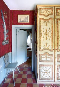Kitchen & Hallway to Master Bedroom - 19th century Belgium home of Stage and Costume Designer, Thierry Bosquet. Entra Magazine May June 2012
