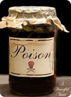 Great tip for using coffee filters on Halloween potion bottles to make them look old!