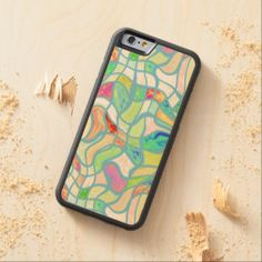 Funky Colorful Warped Twisted Squares Pattern Carved® Maple iPhone 6 Bumper