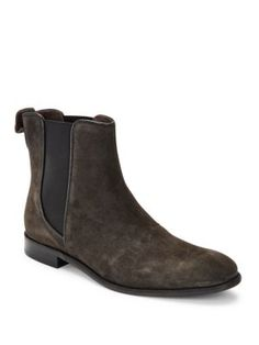 Leather Pull Over Boots, Charcoal