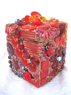 Mosaic Box Trinket Treasure Chest all in RED by waschbear on Etsy, $89.00