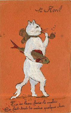 Vintage Cat, Old Ads, Heart For Kids, April Fools, Avril, Children's Book Illustration, Andy Warhol, Vintage Postcards, Cat Art