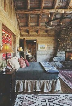 Simple Rustic Cabin Bedroom - love the western theme and look at that fireplace . - Segah - - Simple Rustic Cabin Bedroom - love the western theme and look at that fireplace .