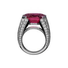 Cartier Royal ring, platinum, one 20.02 carat emerald-cut pink spinel, onyx, brilliant-cut diamonds