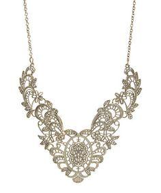 Look what I found on #zulily! Goldtone Vintage Filigree Bib Necklace #zulilyfinds