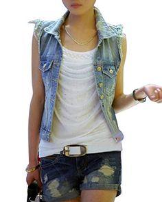 Giacca Jeans Donna Slim Fit Gilet Senza Maniche Giubbotto Giubbino Cardigan  di Jean M 8b1d3becfdf