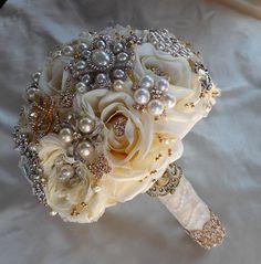 Vintage Inspired Custom Bouquet.  Made by https://www.etsy.com/shop/Elegantweddingdecor