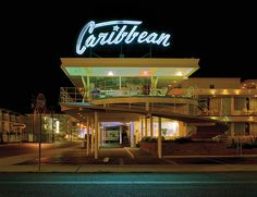 The kitschy motels of the Wildwoods, lit up in brightly colored neon.