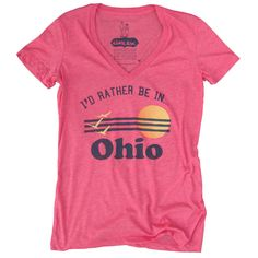 I'd Rather Be In Ohio Womens V-Neck Tshirt, Screenprinted Tshirt, Triblend Red, Vacation Tshirt