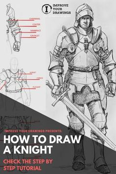 pencil drawings - How to draw a Knight Step by Step Tutorial Knight Drawing, Sword Drawing, Knight Art, Manga Drawing, Drawing Armor, Knight Sword, Drawing Hair, Beginner Sketches, Drawing Tutorials For Beginners