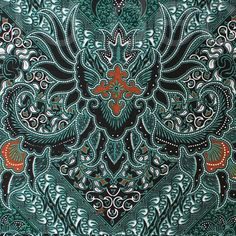 green orange   vintage  traditional Indonesian Batik by 18dec, $13.00