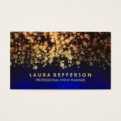 vintage gold foil confetti blue business card. faux gold foil confetti blue business cards for event planners, beauty, fashion stylists, creative professionals - designers and consultants. artwork by Jinaiji on #zazzle <Visit link to see if you can save with coupon codes or promotions!>
