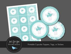 Baptism Cupcake Toppers / Tags / Stickers - Aqua - YOU PRINT - Christening / Baby Dedication / First Communion / Confirmation / Religious