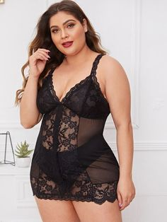 Plus Contrast Lace Mesh Slips With Thong , Big Girl Lingerie, Lingerie Outfits, Plus Size Lingerie, Women Lingerie, Curvy Outfits, Sexy Outfits, Curvy Women Fashion, Plus Size Fashion, Ropa Interior Babydoll