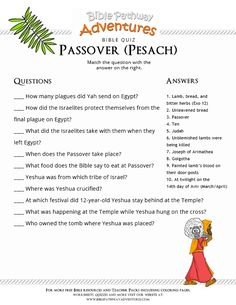 Enjoy our free Bible Quiz, The Passover (Pesach). Fun for kids to print and test their knowledge of Passover and the Appointed Times. Share with others!