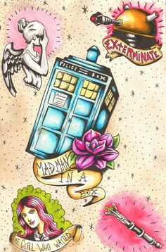 Doctor Who Tattoo Flash of Doom via Etsy. Love the TARDIS one and the Dalek one