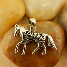 Sterling silver Celtic Horse Pendant with Celtic Knot, charm by celtictreasures on Etsy