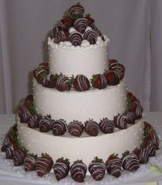 Cake Creations wedding cake with chocolate covered strawberries - can you say yummy?